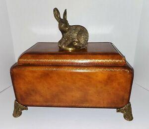 Vintage 1980's Maitland Smith Bronze Cast Rabbit Leather Wood Box