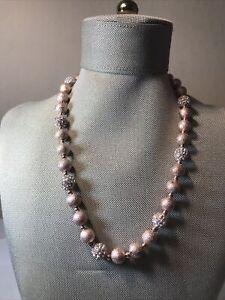"Swarovski Signed Pink/ Copper Beaded Crystal Necklace 19 1/2"" Long~SWAN"