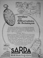 PUBLICITÉ 1929 SARDA VÉRIFIÉE PAR L'OBSERVATOIRE DE BESANÇON - ADVERTISING