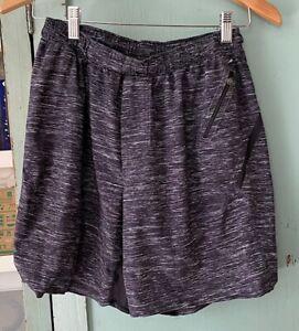 Lululemon black white splatter lined surge shorts medium mens 7 in insm free shp