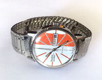 Vintage Collectable 1972 Bulova Automatic Spinnaker Day Date Mans Watch Orange