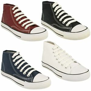 KIDS BOYS GIRLS SPOT ON HI TOP CANVAS LACE UP TRAINERS PUMPS CASUAL SHOES X0002