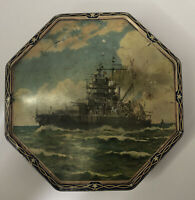 Vintage Loose Wiles Biscuit Co. Octagonal Tin-9 US Navy Ships-USS Idaho Front