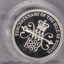 More details for boxed 1989 piedfort silver proof £2 bill of rights royal mint coin & certificate
