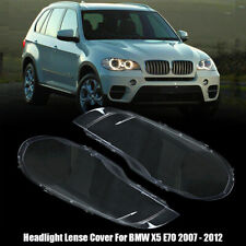 For BMW X5 E70 2007-2012 Pair Headlight Lenses Clear Lamp Cover Lampshade Bright