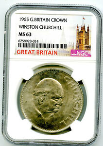 1965 GREAT BRITAIN CROWN WINSTON CHURCHILL NGC MS63 UNCIRCULATED