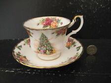 Rara Vintage Royal Albert England Old Country Roses Platillo de taza de magia de la Navidad