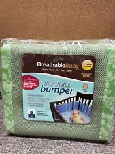 BreathableBaby Mesh Crib Bumper Liner Green Sage Safe Bedding Nursery