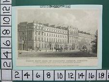 1828 DATED ANTIQUE LONDON PRINT ~ NORTH EAST SIDE OF BELGRAVE SQUARE ~ PIMLICO