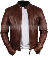 Men's Slim Fit Genuine Sheep Brown Classic Leather Jacket