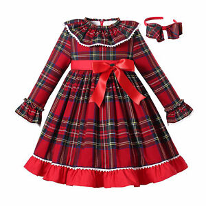 Christmas Girls Check Dress Party Clothes With Headband Bow Autumn Long Sleeve