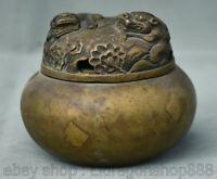 Encensoir de brûleur d'encens en bronze doré de la dynastie Pixiu dorée de 4 po