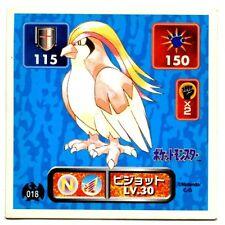 POKEMON STICKER Carte JAPANESE 50X50 1995 NORMAL N° 018 Roucarnage Pidgeot