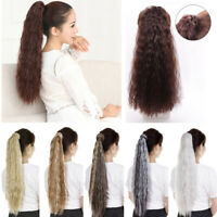 Wrap Around Clip In On Ponytail Hair Extensions Piece Pony Tail Long Wavy/Curly