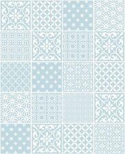 Papel tapiz de Contorno Moderno Efecto Mosaico marroquí Azul Huevo De Pato Blanco FD41466