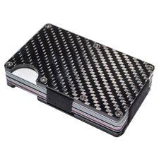 Carbon Fibre Wallet Money Clip Ultra Slim ID Credit Card Holder RFID Protection Black1