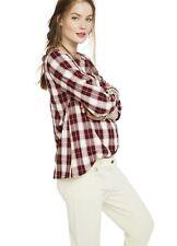 Hatch Maternity Women's THE DELFINA TOP Plaid Bordeaux Cotton Size 0 (XS/0-2)NEW