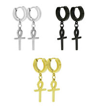 Cross Dangle Hinged Hoop Earrings Unisex Vintage Stainless Steel Egyptian Ankh