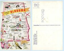 Greetings Alabama Map Illustration 1950 Statistics  Postcard