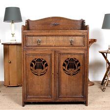 Antique Carved Oak Music Cabinet Edwardian Arts & Crafts Nouveau