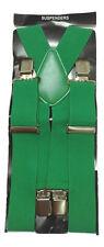 """50MM 2"""" Plain colour Mens Braces Suspenders Heavy Duty Adjustable Unisex Elastic"""