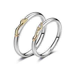 Pikapika Sterling 925 Silver Engagement Ring Wedding Set