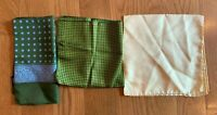 Vintage Set 3 Silk Italy Hand Rolled POCKET SQUARES Handkerchief Greens Yellow