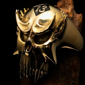 MENS BRASS BIKER VAMPIRE SKULL RING LUCKY NUMBER 13 SYMBOL BLACK SIZE 12