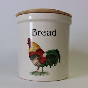 English Pottery Cloverleaf Traditional Earthenware Ceramic Bread Bin Cockerel!