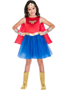 Childs Wonder Woman Fancy Dress Classic Costume DC Comic Superhero Kids Girls