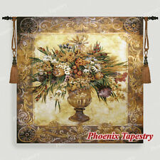 """Tuscan Urn Floral Fine Art Tapestry Wall Hanging, Cotton 100%, 54""""x54"""", UK"""