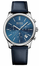 HUGO BOSS MENS CHRONOGRAPH WATCH HB1513431 BLUE DIAL LEATHER STRAP, RRP £279