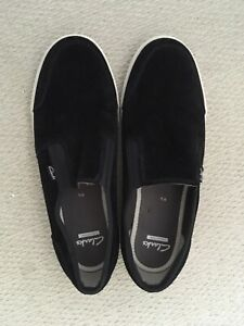Clarks Suede Canvas Mens Slip On Loafer Shoes Size 9.5 - NWOB