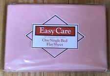 VINTAGE EASY CARE POLY COTTON PINK COLOURED FLAT BED SHEET NEVER USED