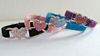 collier anti-étranglement en velours pour chat / coeur strass 4 couleurs