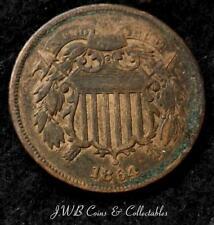 1864 Usa Shield 2 Cents Coin