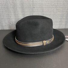NWT Bailey of Hollywood Brandt Downbrim 100% Wool Leather Band USA Hat XXL