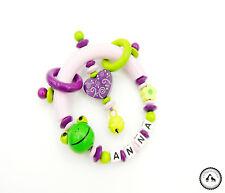 Greifling/Greifring mit Namen ★ Blume/Frosch/Schnörkelherz in hellgrün/lila/rosa