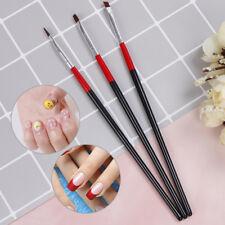 3pcs/set acrylic nail art salon pen tips uv gel builder painting style brush VY