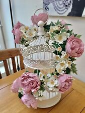 Pink Peony Roses, Blossom & Ivy Shabby Chic Bird Cage Top Table Wedding Flowers