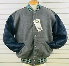 DeLong Mens XL Varsity Letterman Jacket Blue Gray Wool Shell Leather Sleeves New