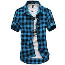New Men's Summer Casual Dress Shirt Mens Plaid Short Sleeve Shirts Tops Tee