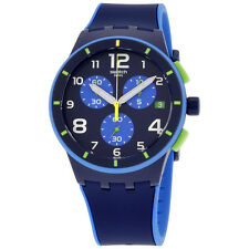 Swatch Beach Swing Bleu Sur Bleu Blue Dial Silicone Strap Men's Watch SUSN409