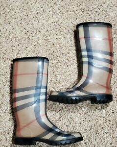 Burberry Rubber Rain Boots Nova Check Plaid Leather Trim Made In Italy SZ 37, 7