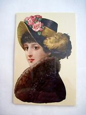 Gorgeous Victorian Die-Cut of Woman in Profile w/ Fur and Feathers *