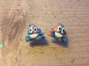 Unicorn Poo Earrings Poop Studs Handmade Emoji Rainbow Cute