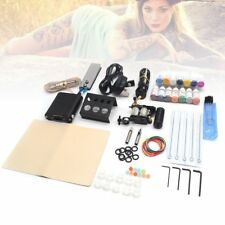 Beginner Tattoo Kit 1 Machine Gun 14 Ink Power Supply Needle Tip Complete Set