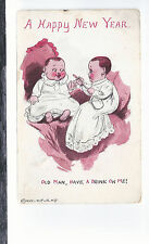 A Happy New Year   Old Man Have A Drink On Me   Unused 1912  Postcard 654