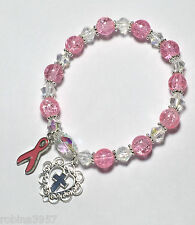 Pink Ribbon Breast Cancer Rosary Bracelet Pink Crackle Glass Beads - 7""