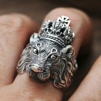 Men's Stainless Steel lannister King Crown Lion Gothic Punk Ring Biker Rings
